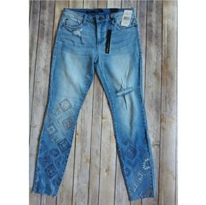 STS Blue Ankle Skinny Embroidered Jeans Size 27